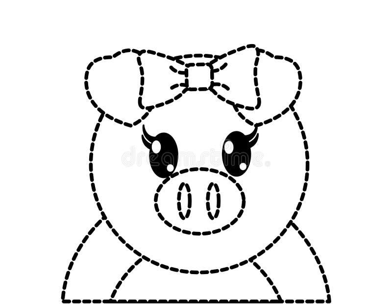 Punktiertes nettes Tier des entzückenden weiblichen Schweins der Form stock abbildung
