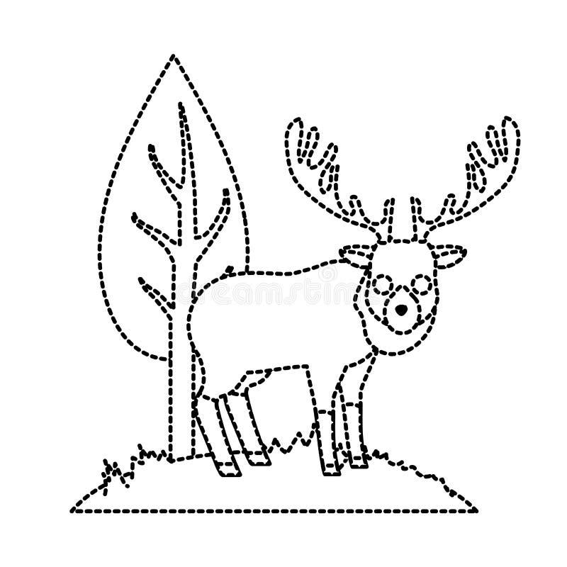 Punktiertes wildes Tier der netten Elche der Form nahe bei Baum lizenzfreie abbildung