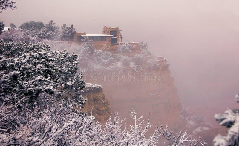 Punktu obserwacyjnego studio na Południowym obręczu, śnieżny Stycznia ranek obrazy stock