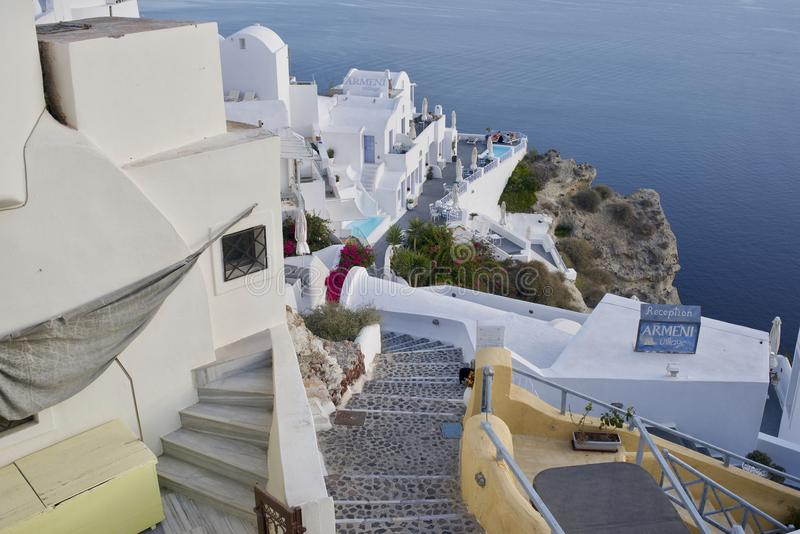 Punktu obserwacyjnego widok w Santorini wyspach Grecja zdjęcie stock