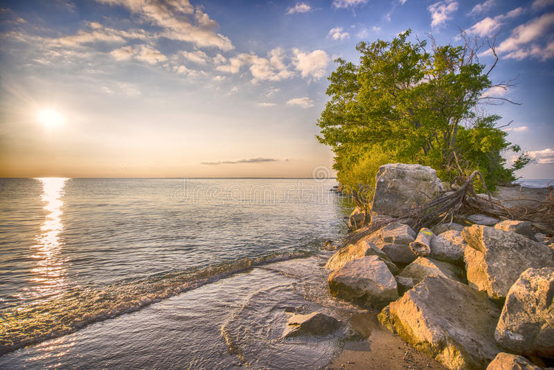 Punktu Pelee parka narodowego plaża przy zmierzchem zdjęcia royalty free