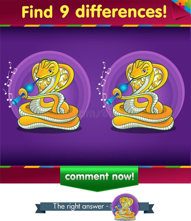 Punktu 9 różnic wąż ilustracji