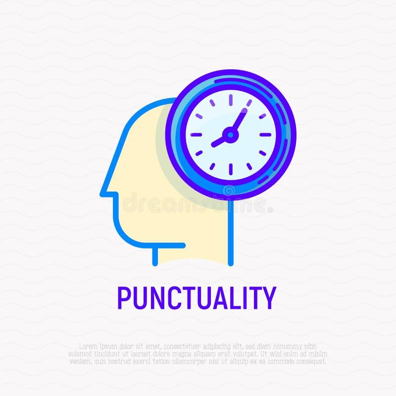 Punktualność, czasu zarządzania cienka kreskowa ikona royalty ilustracja