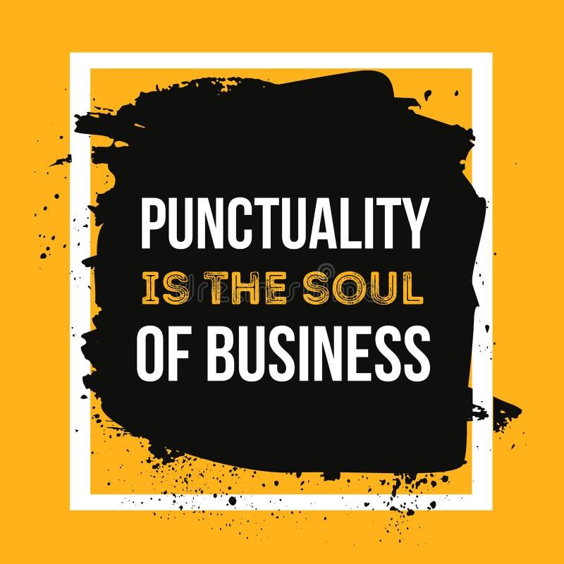 Punktualność jest duszą biznes Minimalistic teksta typografia na grunge tle może używać jako plakat, koszulka royalty ilustracja