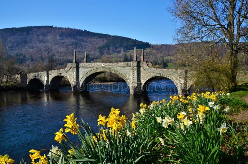 Punkty zwrotni Szkocja - Og?lnego brodzenie most, Aberfeldy zdjęcia royalty free