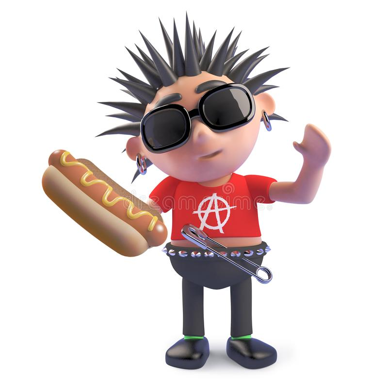 Punky hambriento que sostiene un bocado delicioso del perrito caliente, ejemplo 3d stock de ilustración