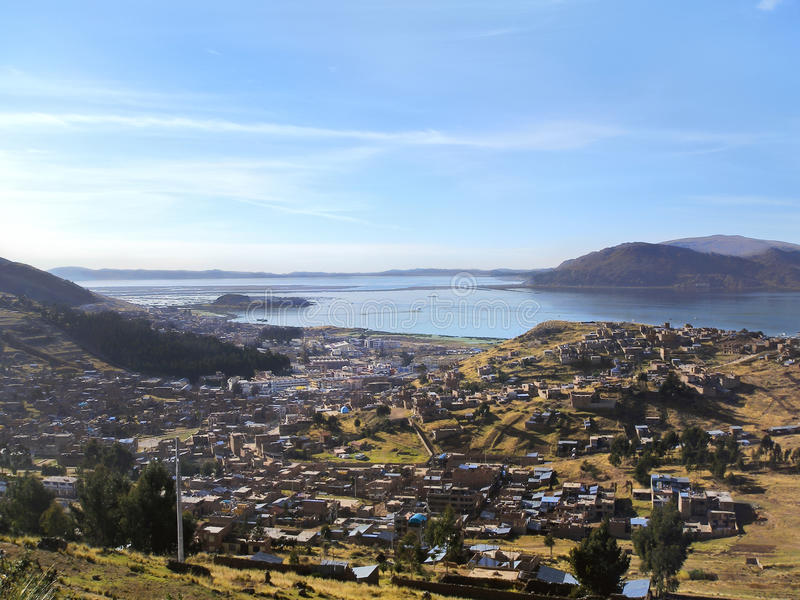 Puno city on the shore of Lake Titicaca in Peru stock photography
