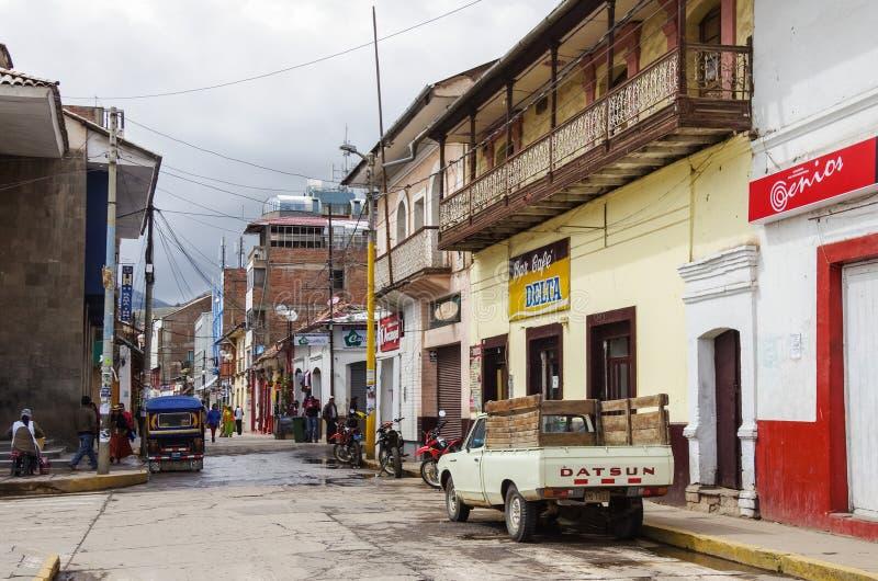 Puno, Peru -January 4,2014: Streets of Puno town, near Titicaca stock photo