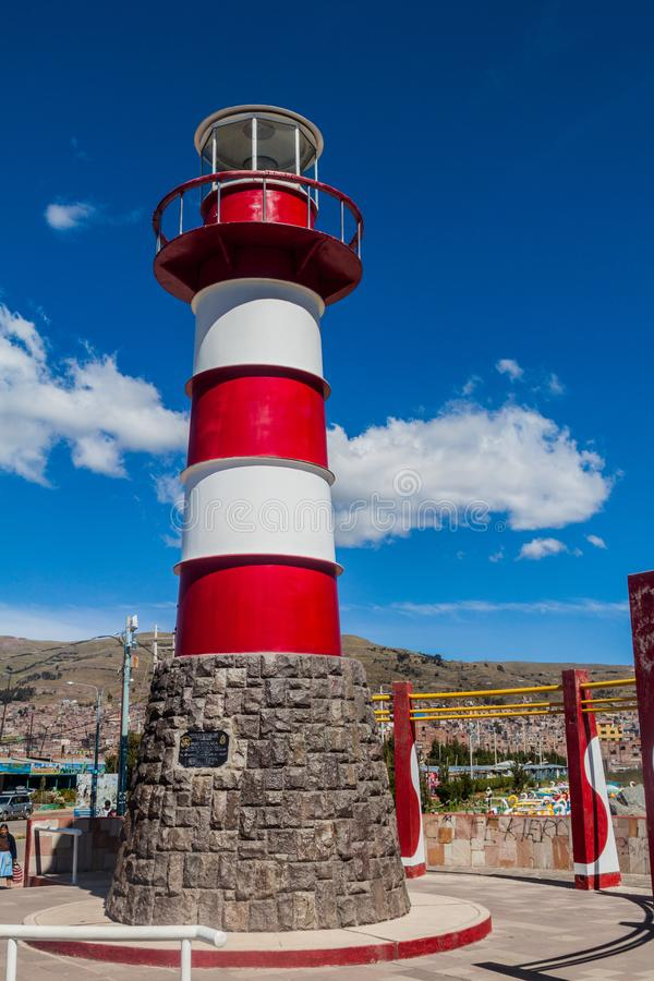 Lighthouse in a port of Puno, Peru stock image