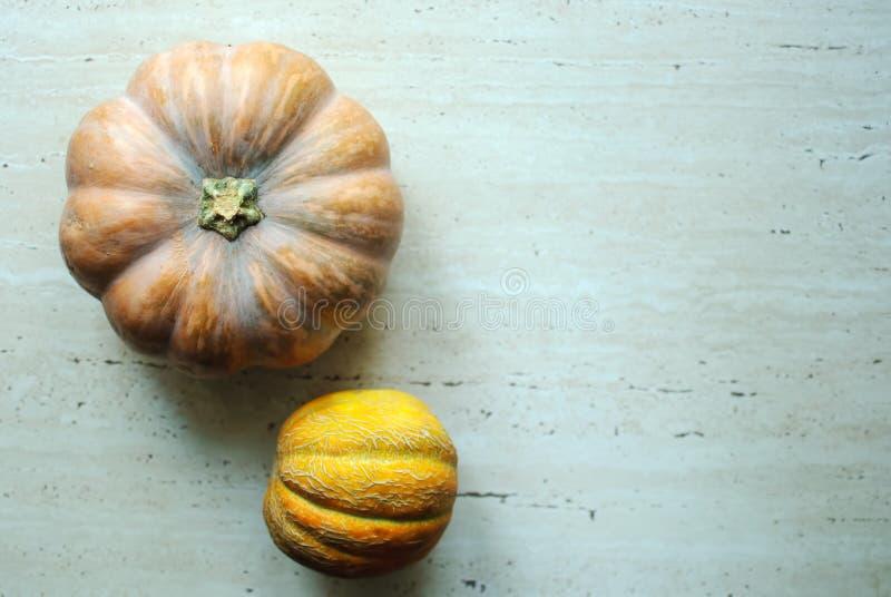 Punpkin de Halloween y fondo de los melones con el espacio de la copia foco selectivo y bokeh imagenes de archivo