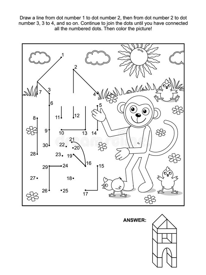 Punt-aan-punt en kleurende pagina - aap de bouwer vector illustratie