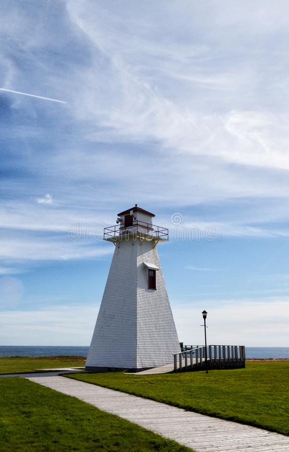 Punt Borden Lighthouse in Marine Park op Prins Edward Island stock afbeeldingen