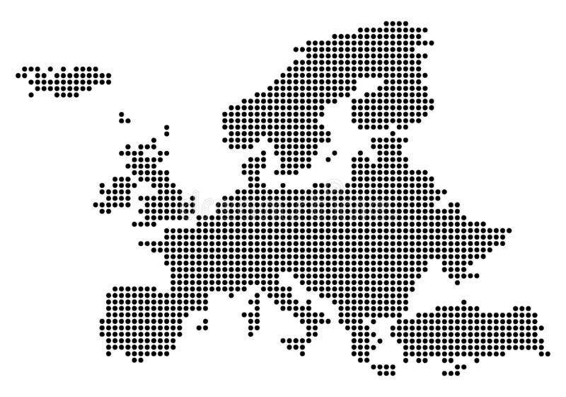 Punt - de Gestippelde Kaart van Europa vector illustratie