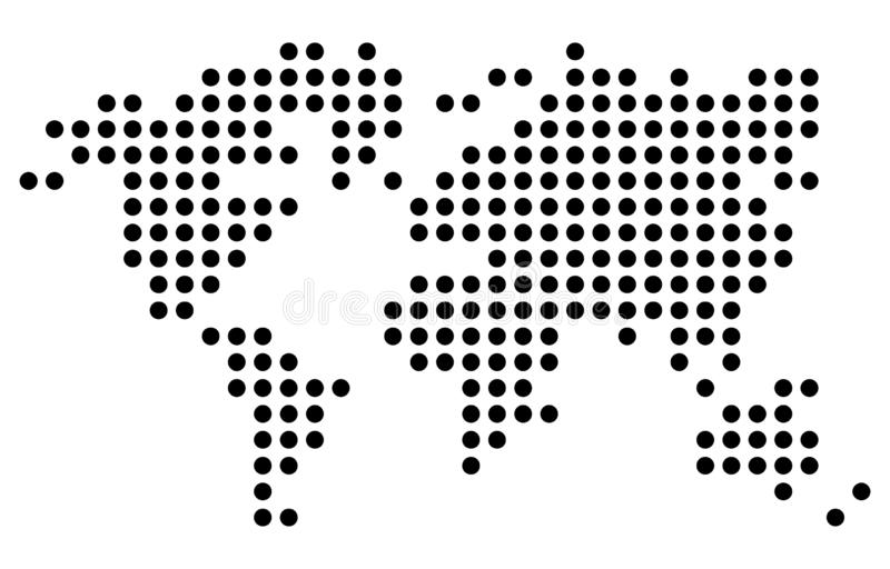 Punt - Gestippelde Wereldkaart stock illustratie