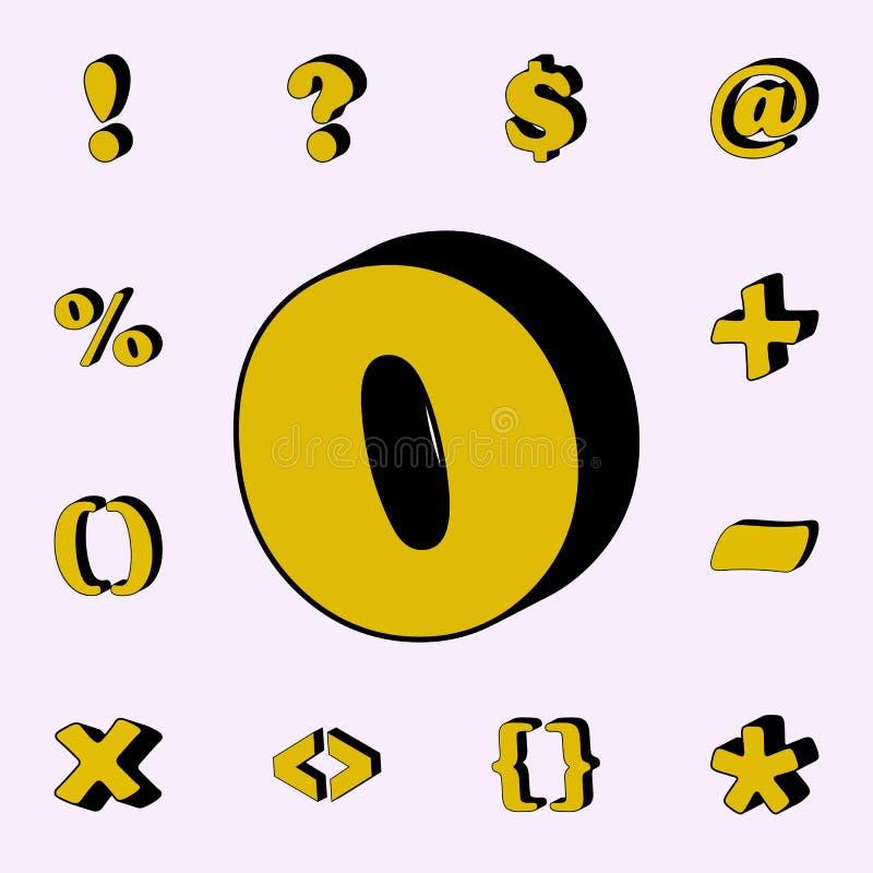 punt, komma, 3D pictogram 3D dat voor Web wordt geplaatst en mobiele algemene begrip van woordenpictogrammen royalty-vrije illustratie