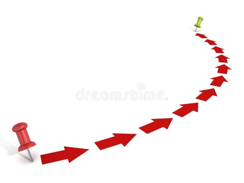 Punt om manier met rode pijlen en spelden te richten vector illustratie