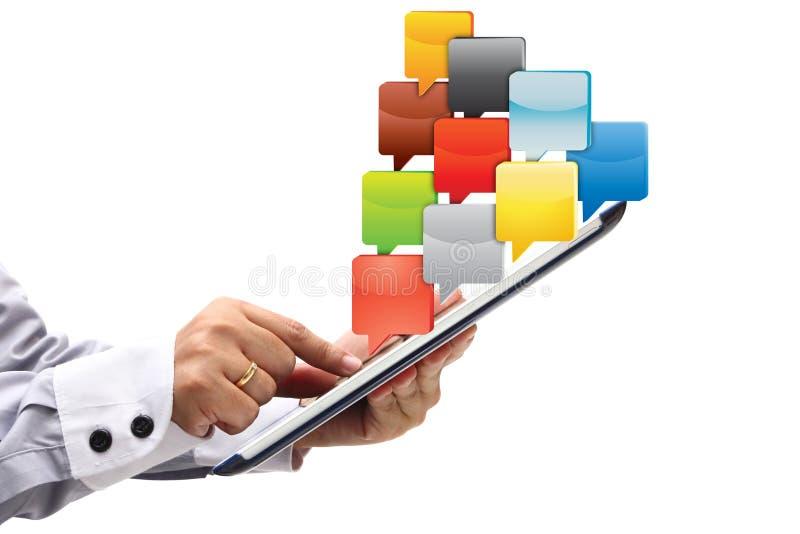 Punt op PC van de Tablet met wolk van toepassingspictogrammen royalty-vrije stock foto
