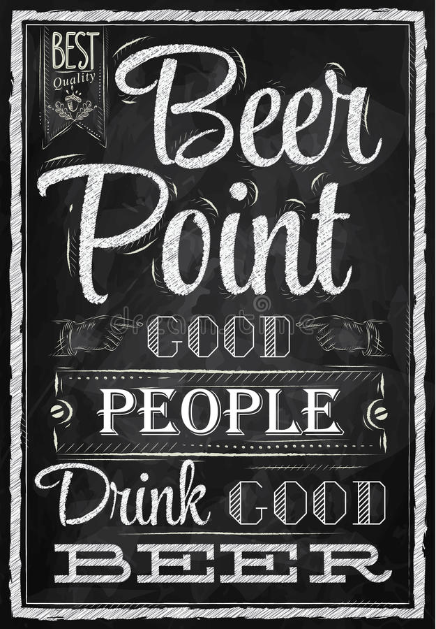 Punt van het affiche het van letters voorziende Bier. Krijt. stock illustratie