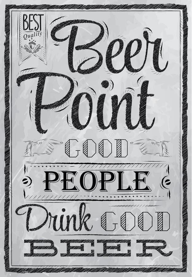 Punt van het affiche het van letters voorziende Bier. Steenkool. stock illustratie