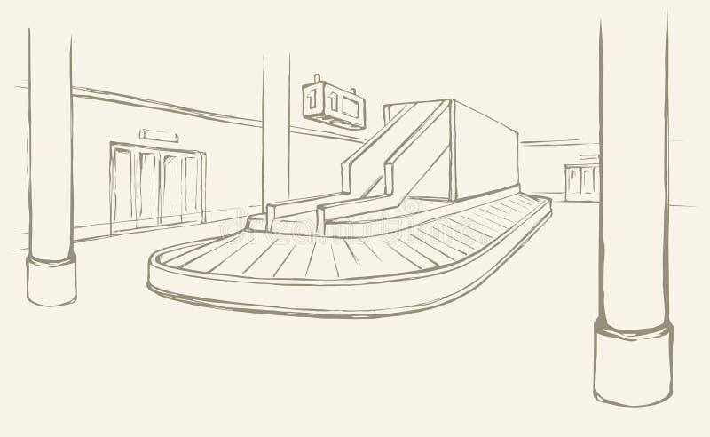 Punt van het controleren van bagage in luchthaven Vector tekening vector illustratie