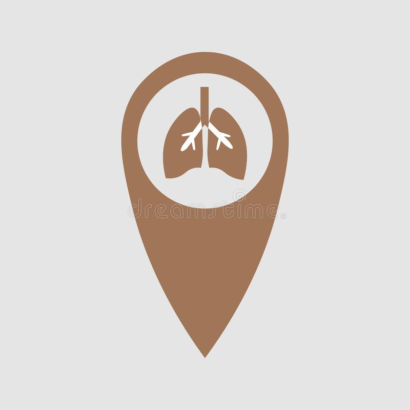 Punt van plaats met het beeld van de longen Medisch element royalty-vrije illustratie