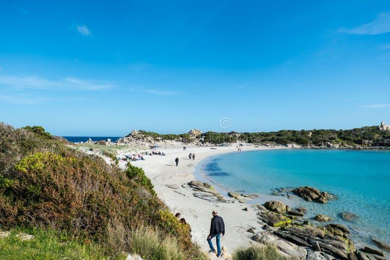 Punta è baia di Molentis, Villasimius, Cagliari, Sardegna, Italia fotografie stock libere da diritti