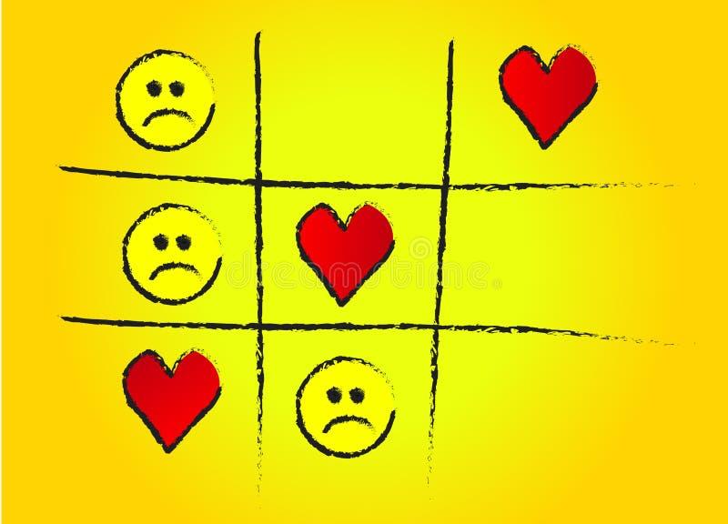 Punta amarilla del juego de amor stock de ilustración