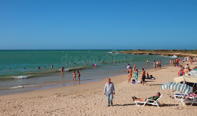 Punta Arenas Playa Punta Arenas, Makanao, island of Margarita, Venezuela - Jan 08, 2015: Caribbean Sea and beach. Caribbean Sea and beach. Punta Arenas Playa stock photos