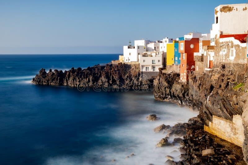 2019-03-12 Punta Brava - Puerto de la Cruz, Santa Cruz de Tenerife lilla staden på den atlantiska kusten arkivfoton