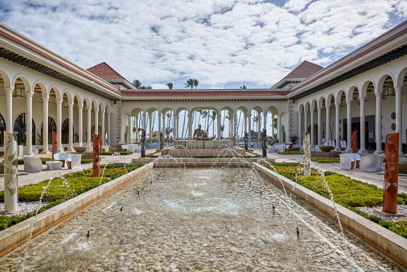 PUNTA CANA, DOMINICAN REPUBLIC - MARCH 19, 2017: Beautiful courtyard in modern neo-classical style at Paradisus Hotel in Playa Bav stock images