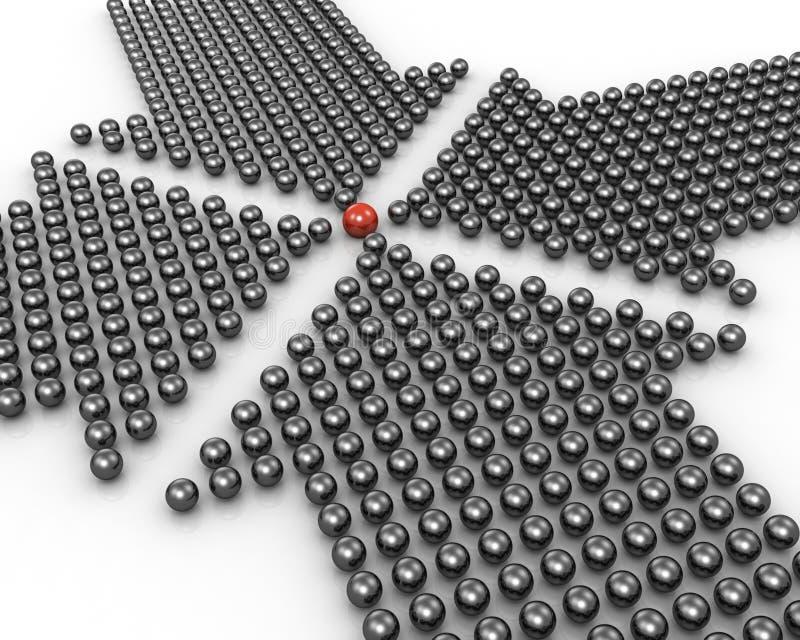 Punta de cuatro flechas en la bola roja excepcional libre illustration
