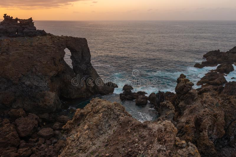 Punta de Juan Centellas cape at sunset, Tenerife, Spain royalty free stock images