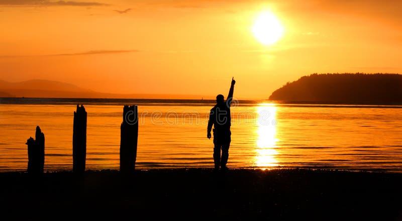Punta de la puesta del sol fotos de archivo