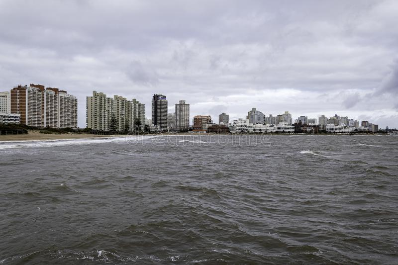 Punta del Este Peninsula beautiful place and beaches in eastern Uruguay stock images