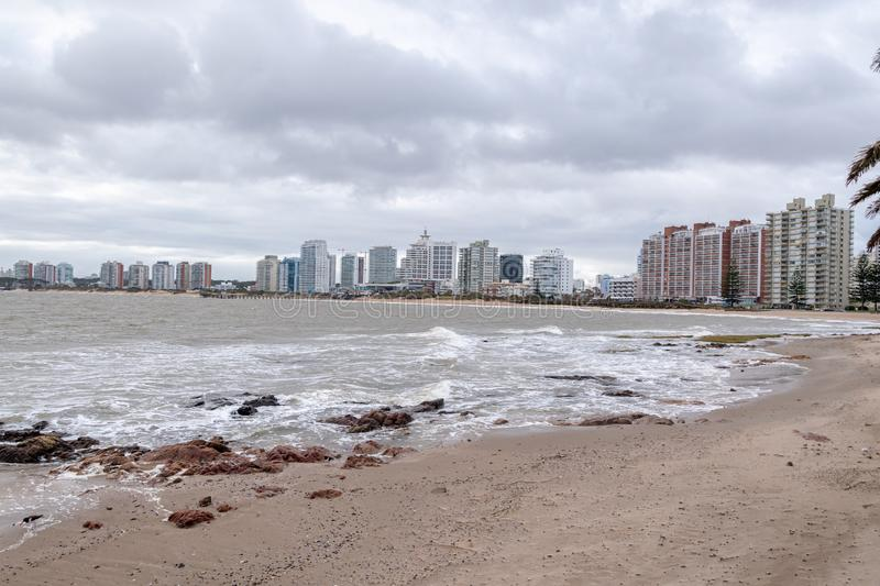 Punta del Este Peninsula beautiful place and beaches in eastern Uruguay stock photography
