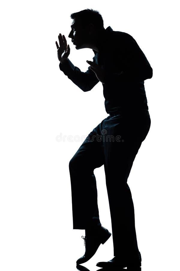 Punta del pie que recorre del hombre de la silueta reservado integral imagen de archivo