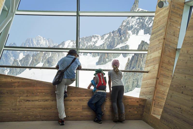 Punta Helbronner de Skyway, terminal de Monte Bianco, Courmayeur fotografía de archivo