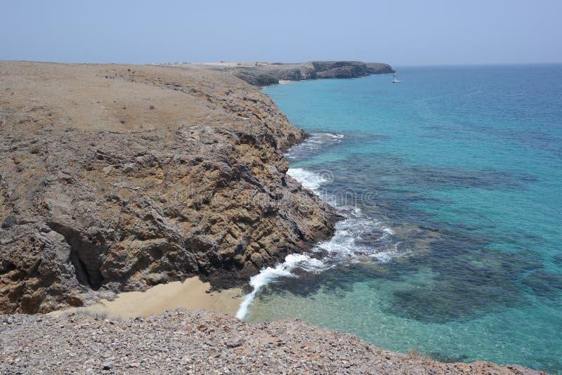 Punta papagayo krajobraz, Lanzarote, canarias wyspa obraz royalty free
