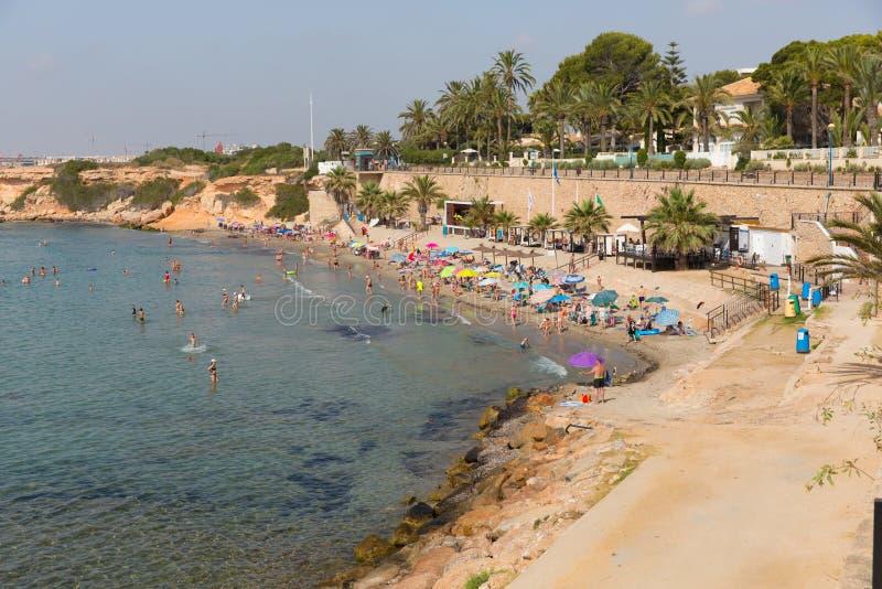 Punta Prima plaża Hiszpania i Jayden dołman dwa dnia przed Daniel Mee, spadaliśmy ich śmierć obraz royalty free