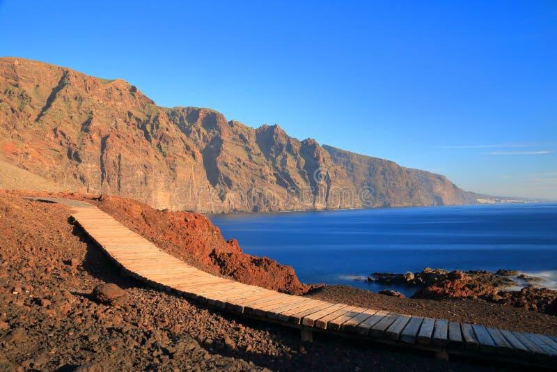 Punta Teno, Tenerife, Canary islands. Wooden path in Punta Teno, Tenerife, Canary islands stock photo