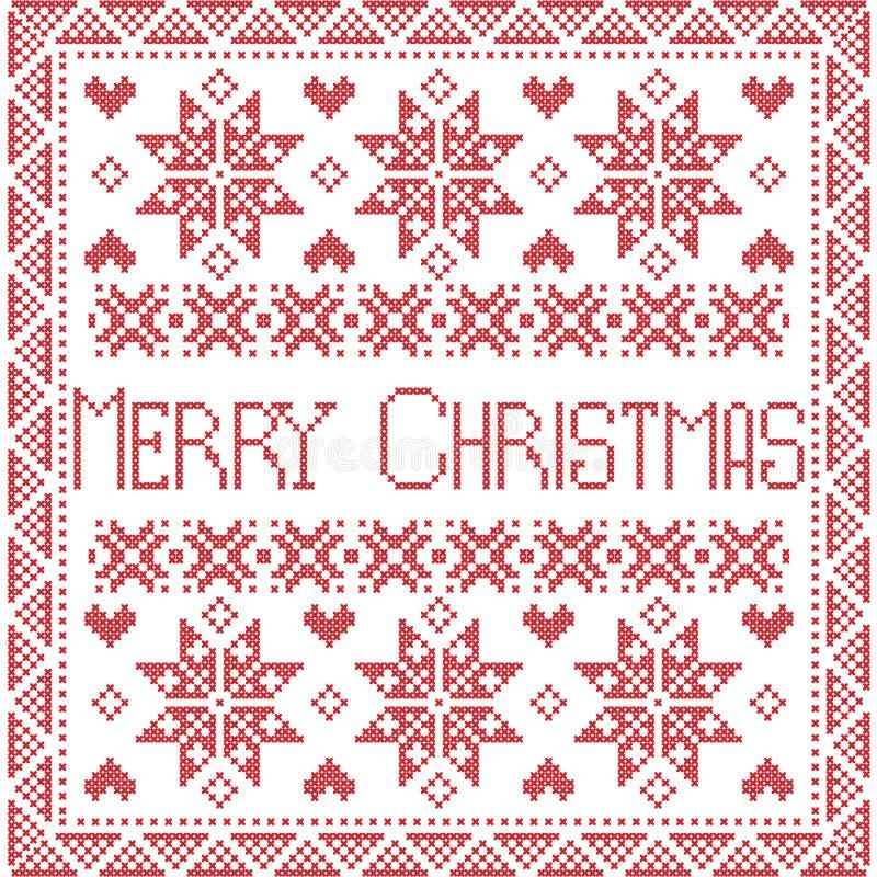 Puntada nórdica del invierno del feliz estilo escandinavo de Navidad, modelo inconsútil que hace punto stock de ilustración