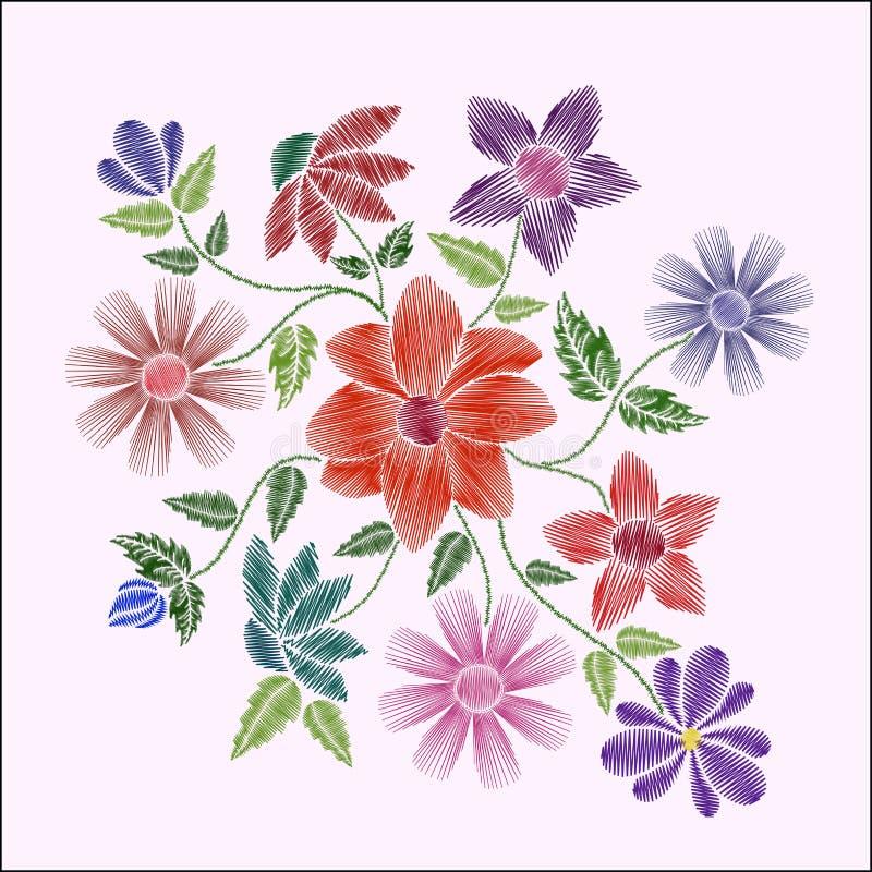 Puntadas del bordado con las flores y las hojas stock de ilustración
