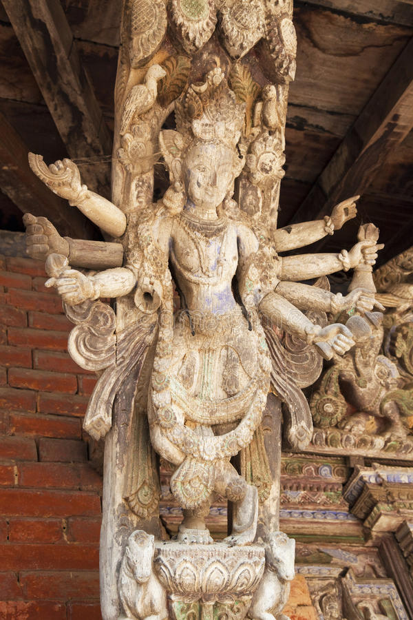 Puntal artístico de la azotea, templo de Changu Narayan, Nepal imagen de archivo