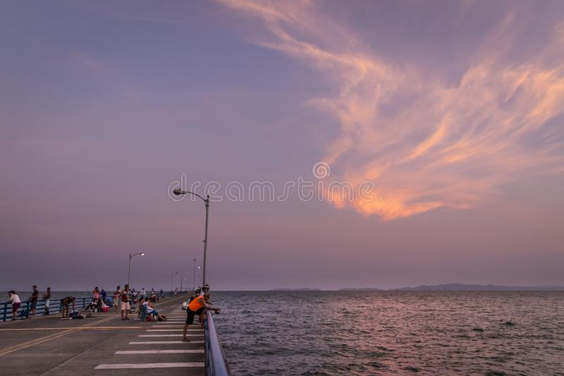 Puntarenas beach tourist pier attraction pacific of Costa Rica stock images