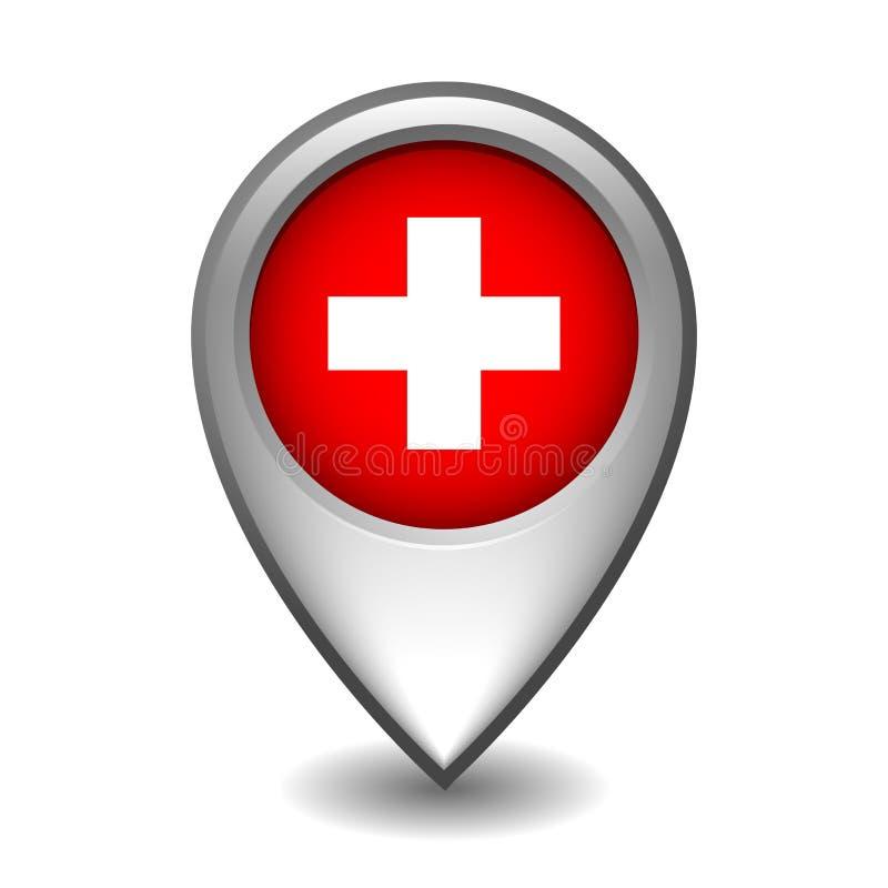 Puntatore d'argento della mappa del metallo con la bandiera della Svizzera illustrazione vettoriale
