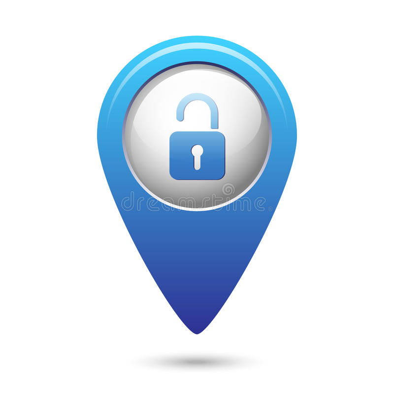 Puntatore della mappa con l'icona della serratura aperta illustrazione di stock