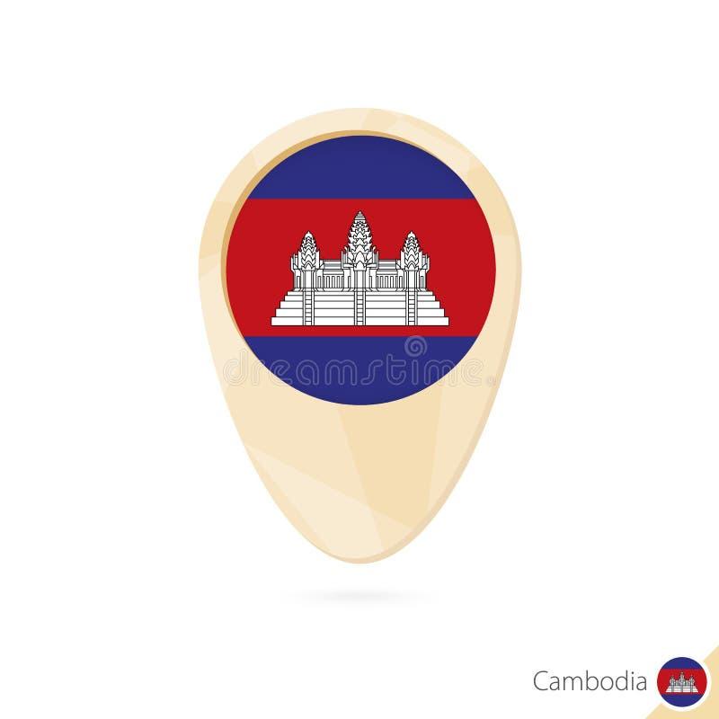 Puntatore della mappa con la bandiera della Cambogia Icona astratta arancio della mappa illustrazione di stock