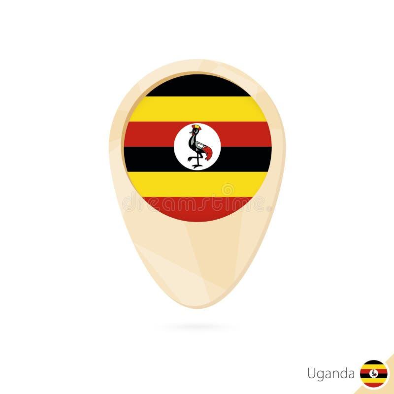 Puntatore della mappa con la bandiera dell'Uganda Icona astratta arancio della mappa royalty illustrazione gratis