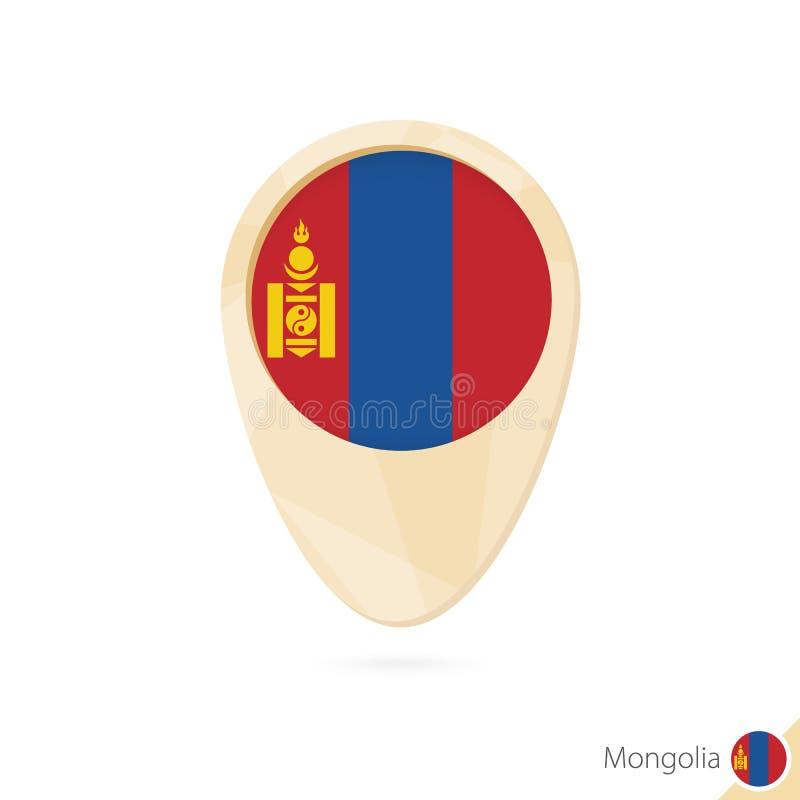 Puntatore della mappa con la bandiera della Mongolia Icona astratta arancio della mappa royalty illustrazione gratis