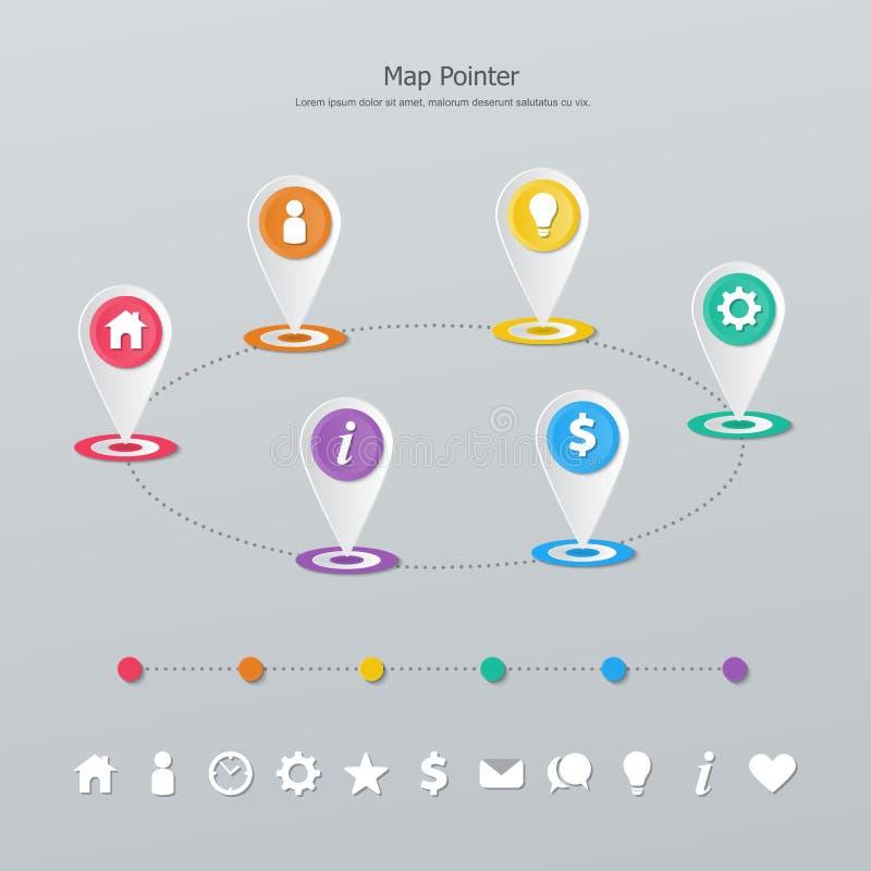 Puntatore della mappa di cronologia illustrazione di stock